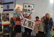 Members of the Jewish history class display their projects
