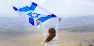 girl with Israeli flag blowing in the air