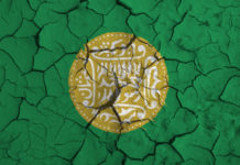 Rohingya flag on cracked background