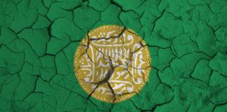 Rohingya flag on cracked background