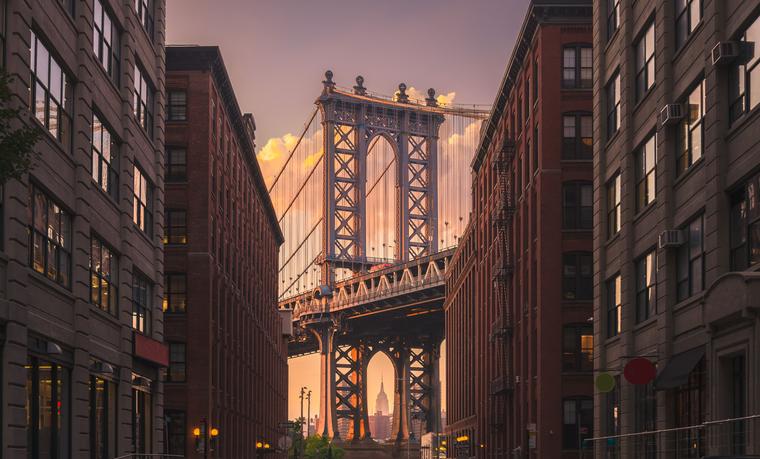 view of Manhattan bridge from Brooklyn