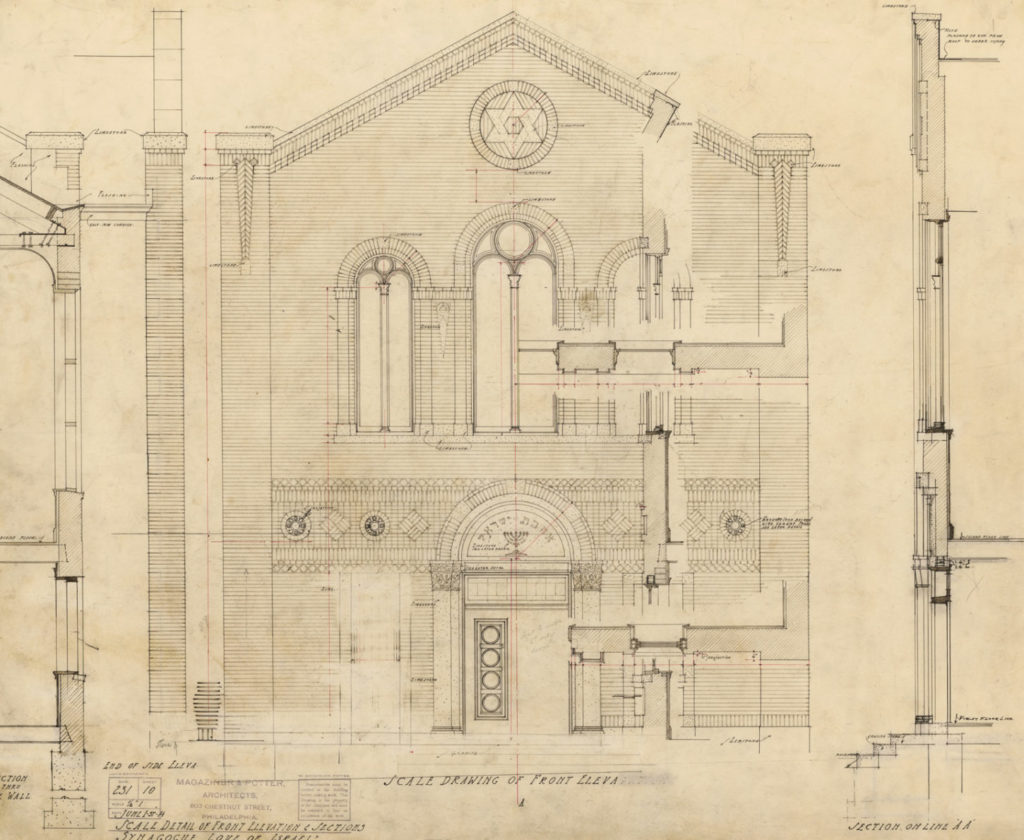 Magaziner's hand-drawn blueprints of Love of Israel synagogue