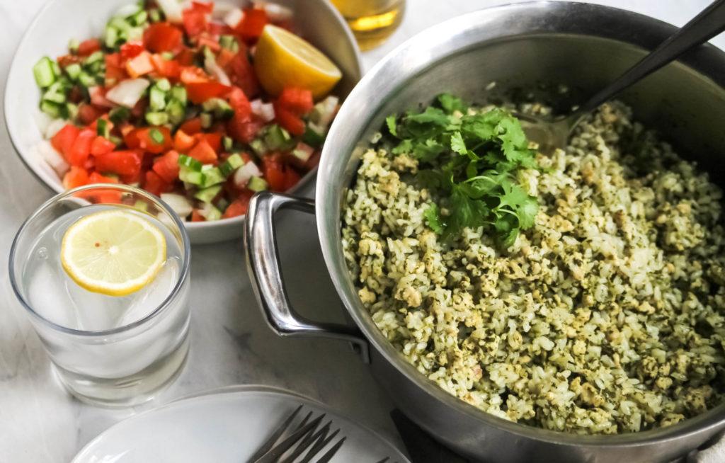 Green shakshuka ingredients