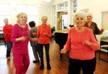 Residents dance