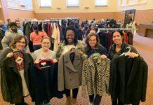 Pia Eisenberg, Melanie London, Shauna Ekezie, Jill Aschkenasy and Sharon Schwartz hold coats
