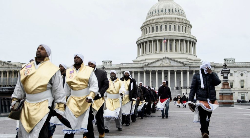Members of the Black Hebrew Israelites in front of Capitol Hill