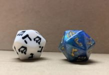 two 20-sided dreidels that look like dice
