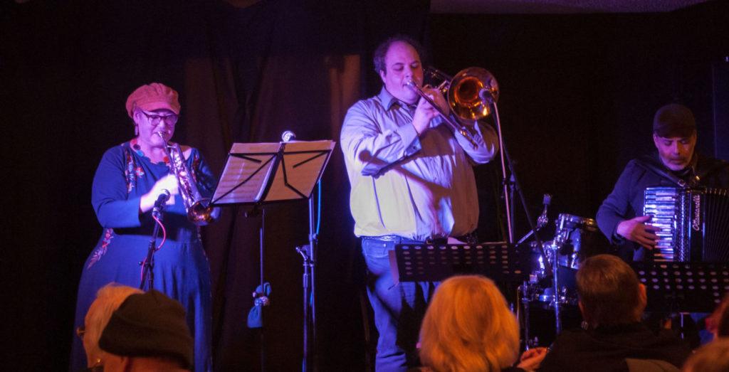 Susan Watts plays instruments with Dan Blacksberg and Rob Curto
