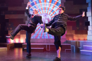actors as Vladimir Putin and Kim Jong Un dancing