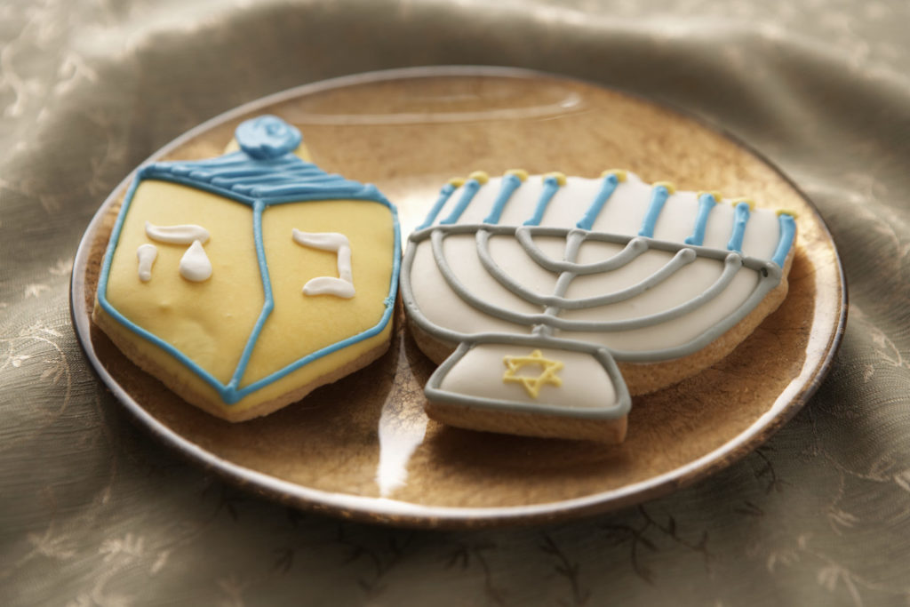 Chanukah cookies on a plate