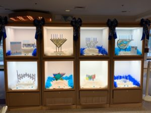 the eight menorahs on display at the Bucks County Visitor Center