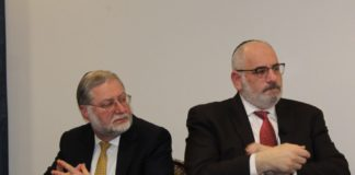 Rabbi Mordechai Becher and lawyer Ron Coleman at the Ethics in the Media event