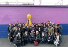Jewish camp professionals with Big Bird at Sesame Place
