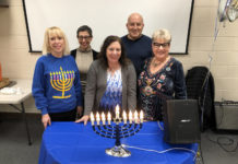 From left: Marci Lyons-Di Camillo, Sue Aistrop, Rabbi Sandra Rosenthal Berliner, Andre Krug and Shelley Geltzer.