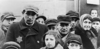Jews wearing Star of David badges, Lodz Ghetto, Poland, 1940-1944.