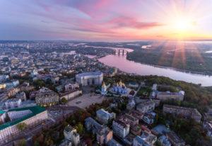 buildings in downtown Kiev, Ukraine