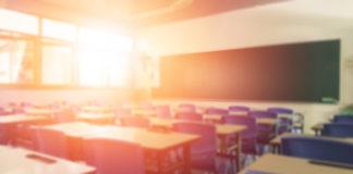 sun streams into a classroom