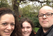 Nancy Falkow McBride with daughter Hannah and husband Frankie.