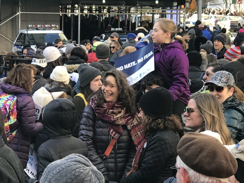 attendees at the march against anti-Semitism