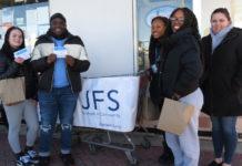 From left: Genesis Fernandez, Tibaheam Brown, Brianna Bazilio, and Akiera Cabrera along with JFS Volunteer Services Supervisor Vanessa Smith.