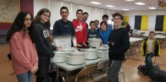 An eighth-grade class prepares for the Cholent Bowl.