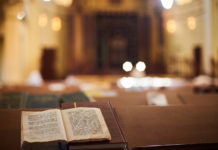 book sitting inside a synagogue