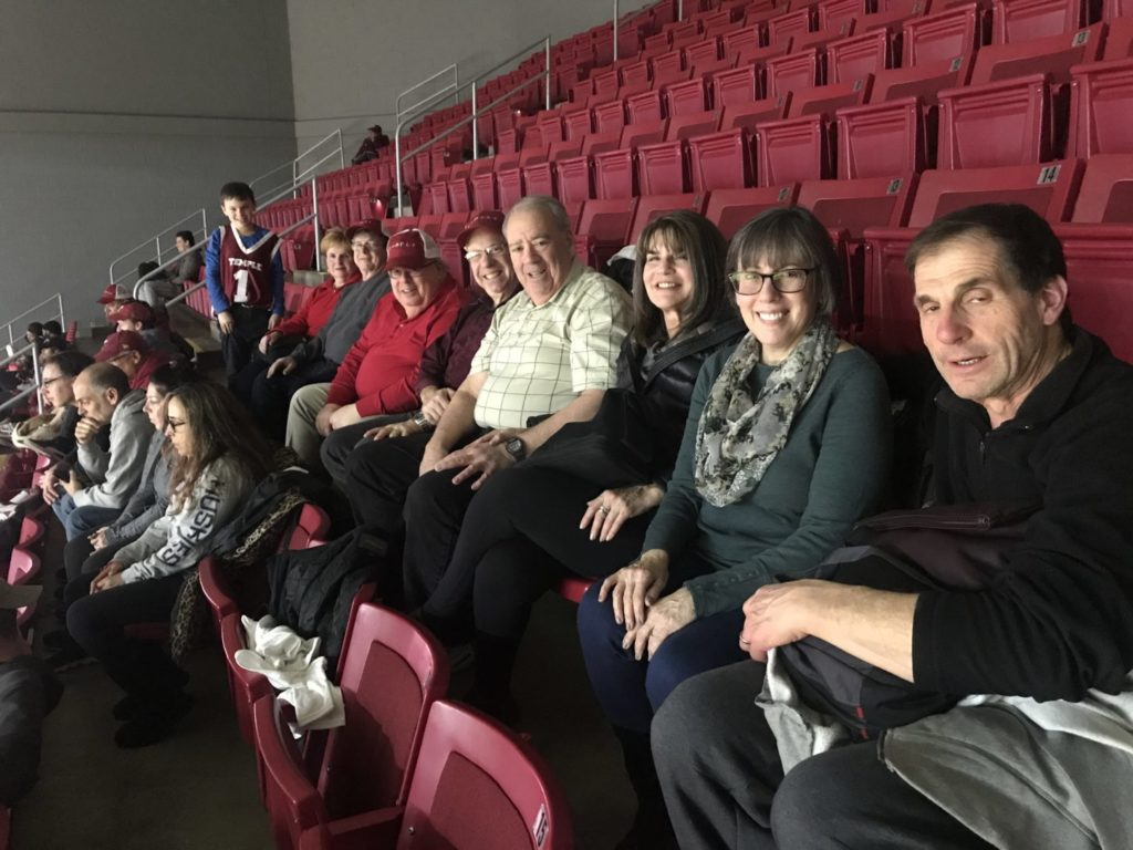 roup from Ohev Shalom in Richboro led by Jeff and Diane Pevar (far right) at Temple basketball's Jewish Heritage Night