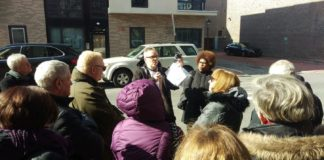 "David Krueger and Calenthia Dowdy (both center) lead the ""Civil Rights Tour."""