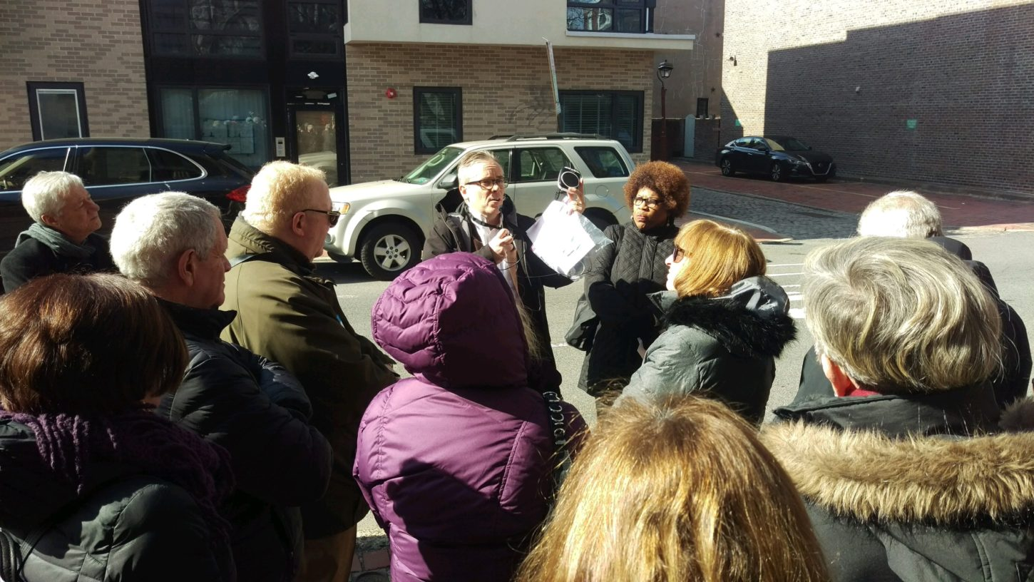 """David Krueger and Calenthia Dowdy (both center) lead the """"Civil Rights Tour."""""""