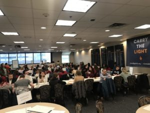 Not an empty seat in sight at the Super Sunday call center at 2100 Arch Street.