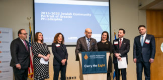 From left: Philadelphia City Councilman Allan Domb, author Jennifer Weiner, Jewish Federation Board Chair Susanna Lachs Adler, Jewish Federation Chief Operating Officer Steve Rosenberg, Sara Laver, Adam Laver and state Rep.Jared Solomon at the Community Portrait Press Conference at the Independence Visitor Center.