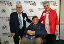 From left: Holocaust survivors David Tuck and David Wisnia and original Rosie the Riveter Mae Krier