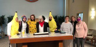 seniors dressed up in Purim costumes