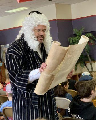 Rabbi Joshua Ottensoser also read from the Megillah.