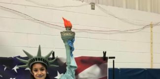 girl in statue of liberty costume