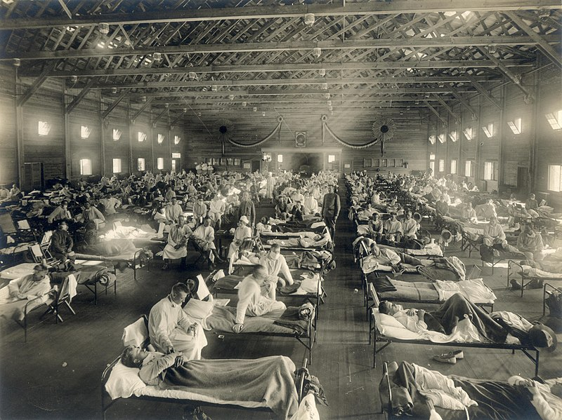 A hospital in Kansas during the Spanish flu epidemic in 1918.