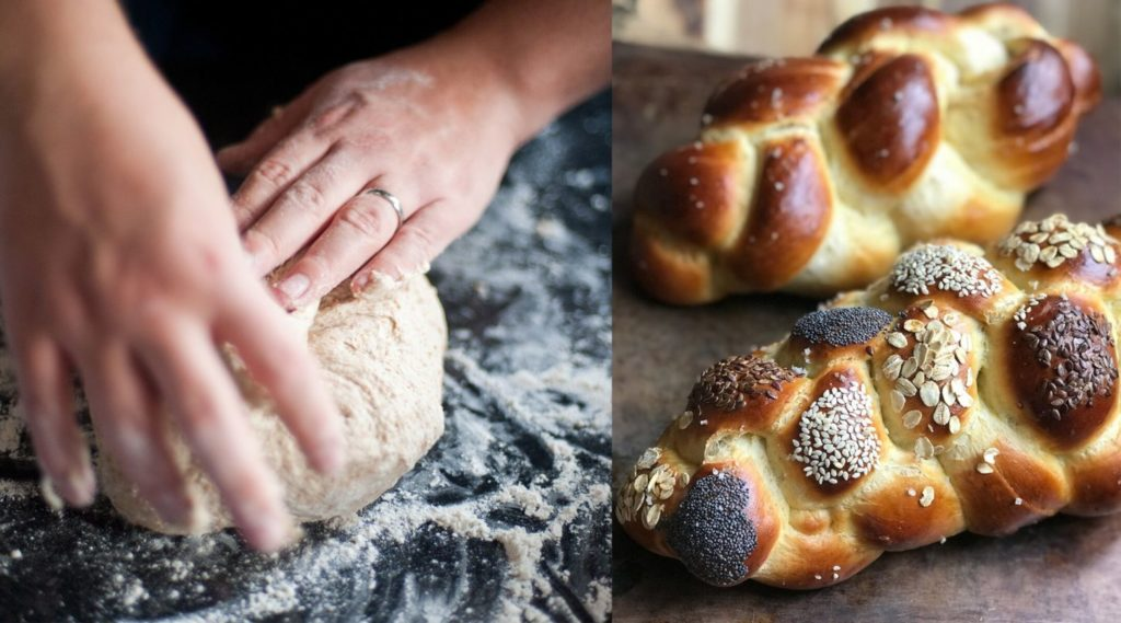 Before and after: Preparing the dough for traditional challah loaves