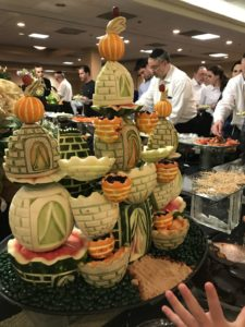 """Sometimes dessert stations come with fruit sculptures. The buffet at the Aidmans' hotel included hot and cold foods, omelet stations, juice bars and caramelized banana waffles. """"Much fancier than anything I would have served at home,"""" Ayala Aidman said."""