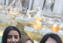 Temple University students at the Trevi fountain in Rome