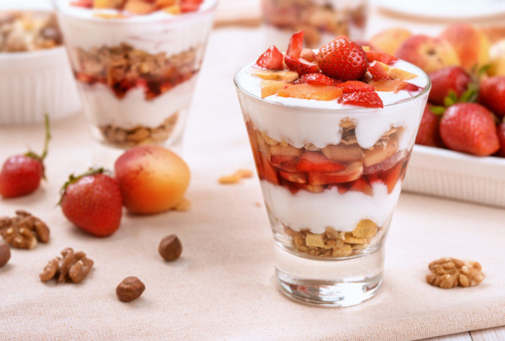 Berries and granola parfait layered dessert