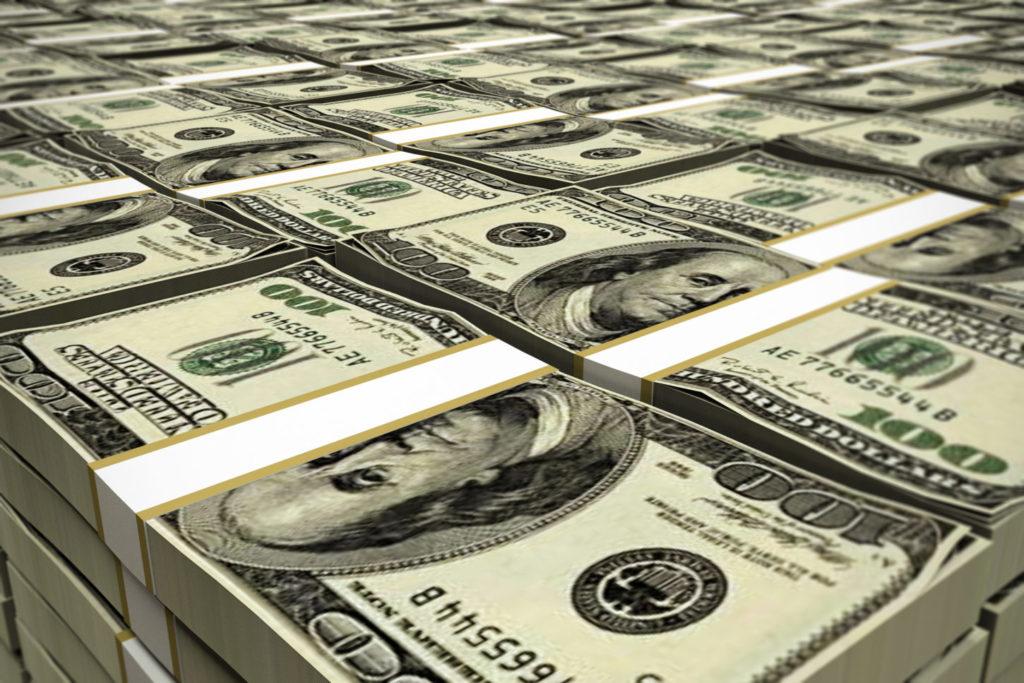 huge deposit of dollars stack 3d illustration