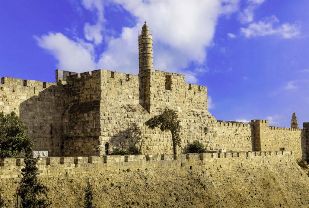 Old City Walls, Jerusalem, Israel taken near Jaffa Gate after sunset.