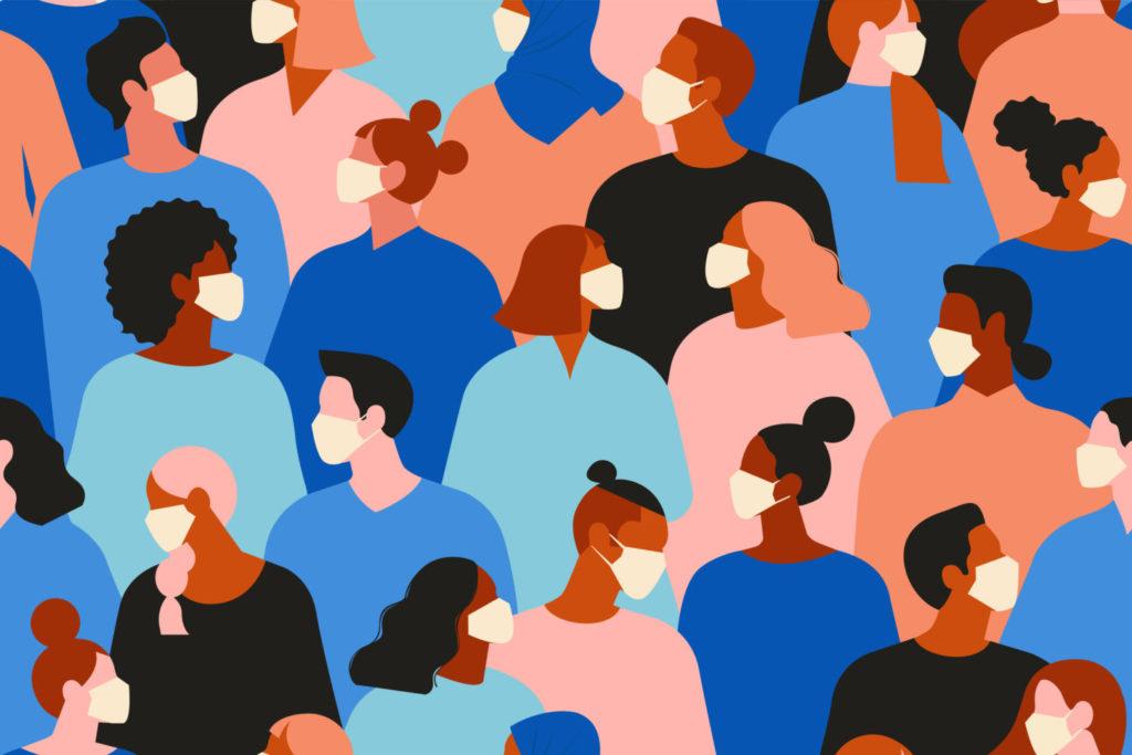 people in white medical face mask. Concept of coronavirus quarantine vector illustration. Seamless pattern.