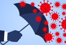 Hand holding an umbrella against the 2019 novel coronavirus pneumonia, global plague virus