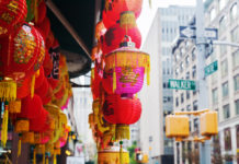 Chinese lantern at a store in Chinatown, Manhattan, New York City