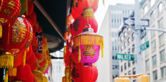 Chinese lantern at a store in Chinatown, Manhattan, New York City