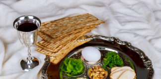 Pesah celebration concept jewish Passover holiday egg and seder plate