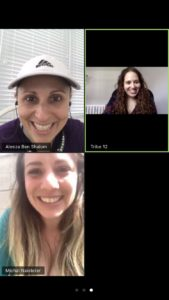 Aleeza Ben Shalom (top left) meets virtually with matchmakers Danielle Selber (top right) and Michal Naisteter (bottom).