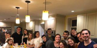 Students fry latkes at the Drexel University Chabad House.