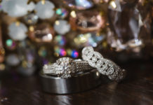 Wedding and engagement ring full of sparkly and shine